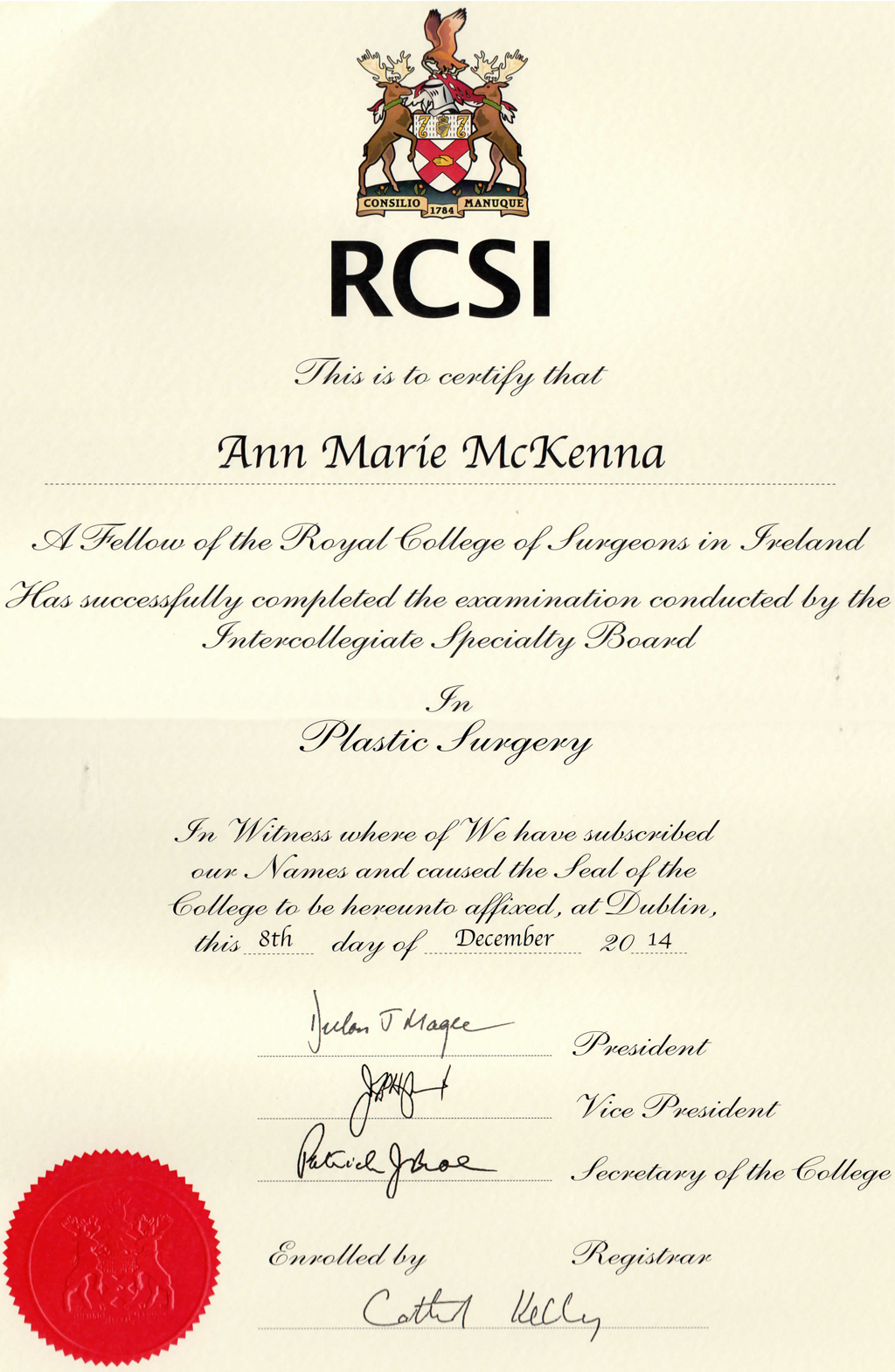 Fellowship of the Royal College of Surgeons Ireland Award